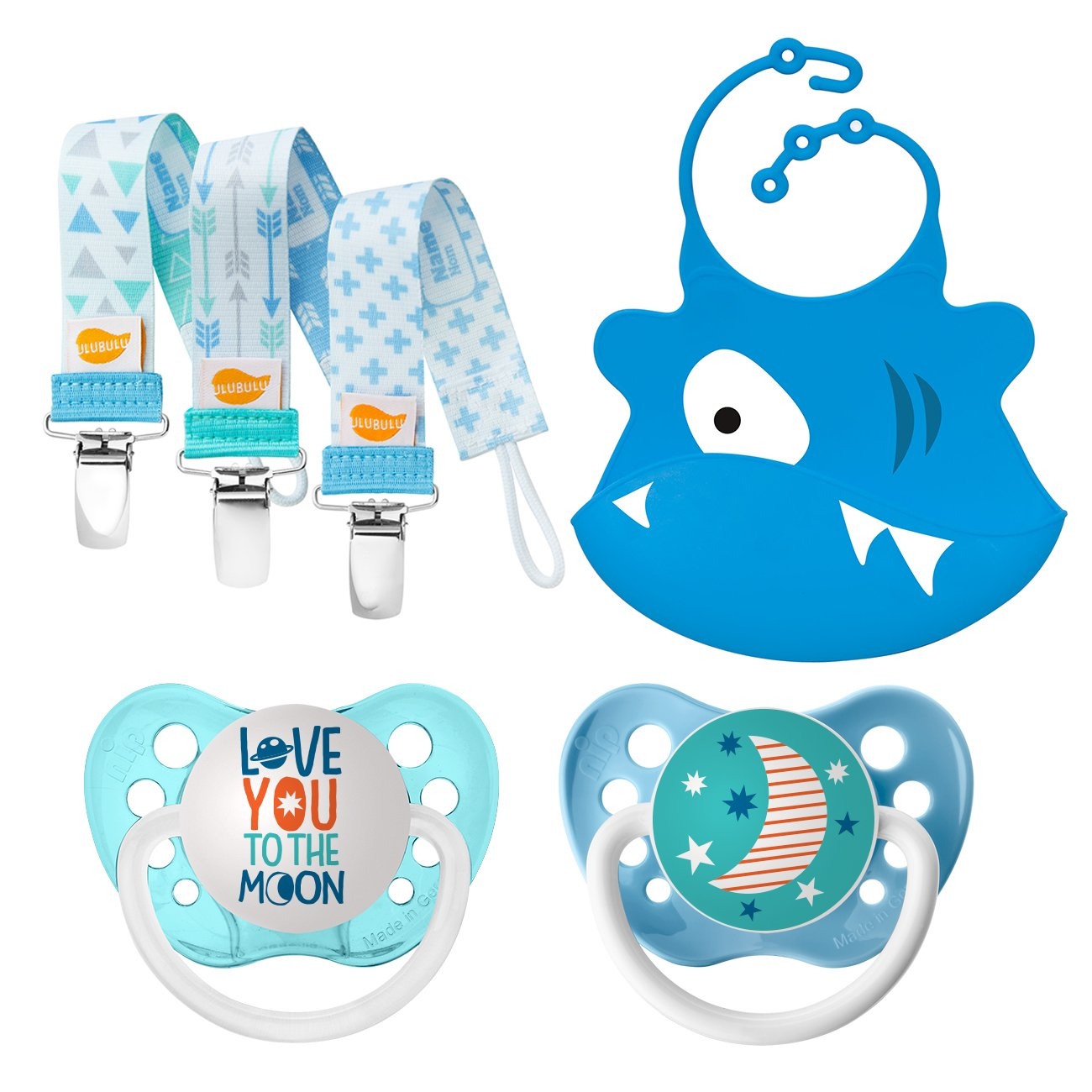 Ulubulu Love You to The Moon and Teal Moon Designs/Boy Pacifier Clip Combo/Silicone Bib, 0-6 Months by Ulubulu