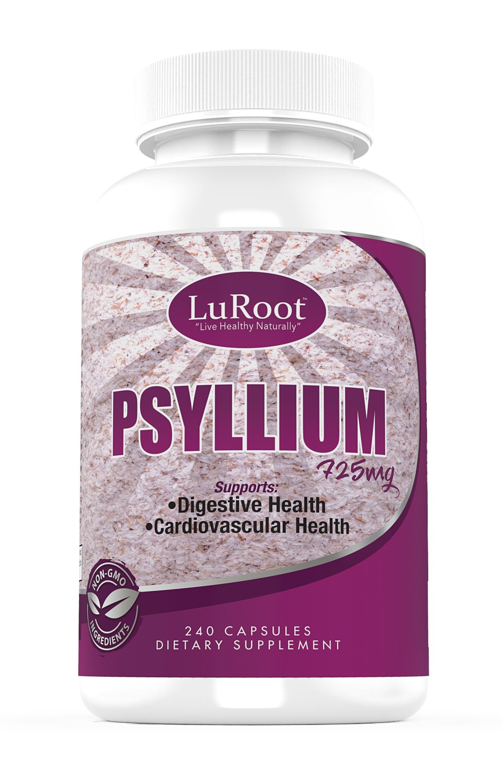 Psyllium Husk Seed Powder Capsules 725 mg by LuRoot Non-GMO Fiber Supplement