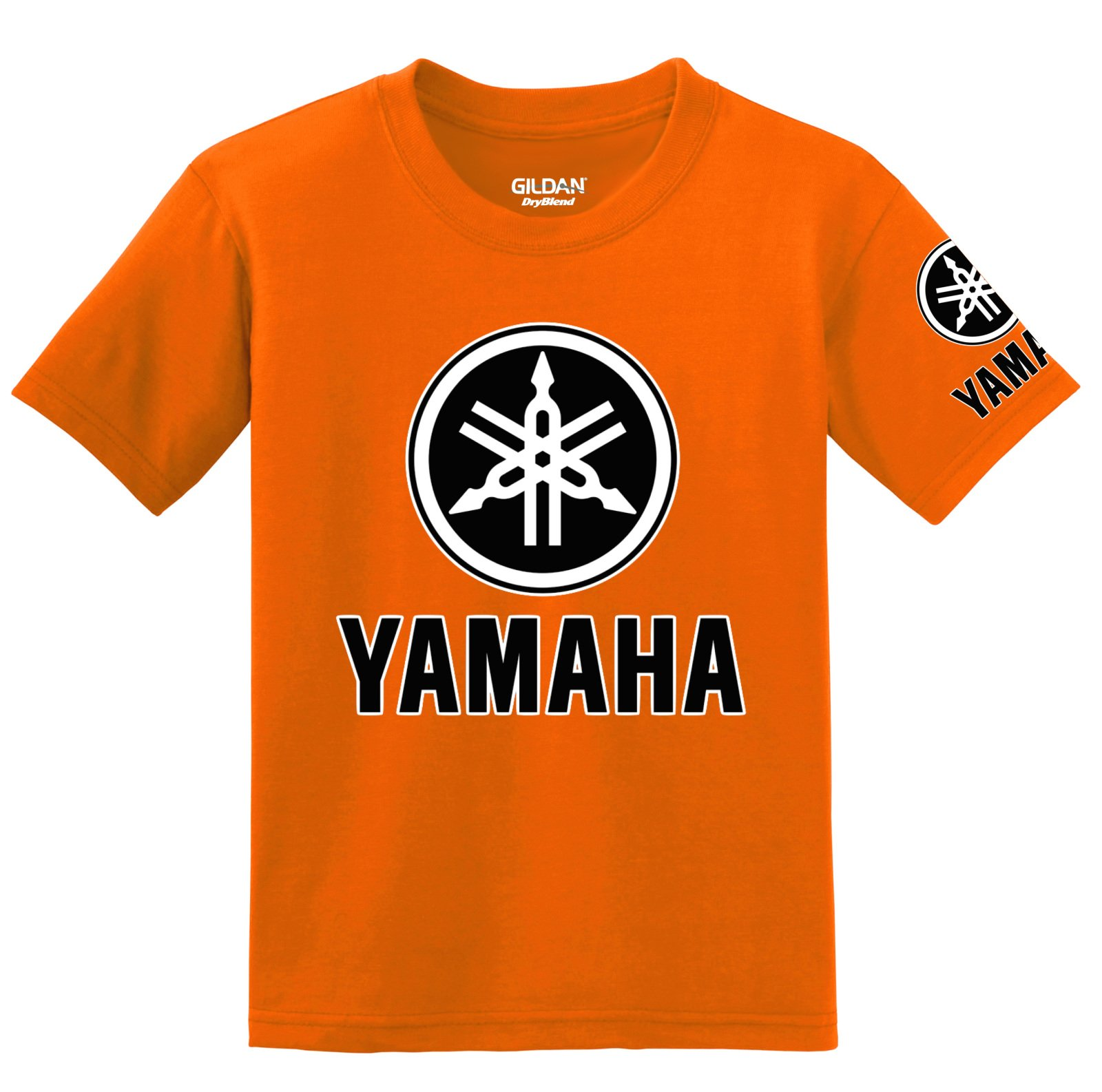 Yamaha Logo with Sleeve T-Shirt, Large Orange