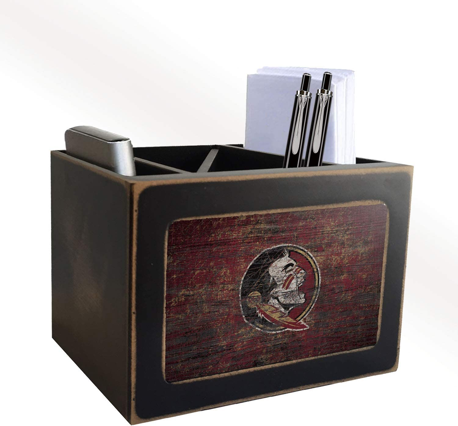 Fan Creations NCAA Florida State Seminoles Distressed Team Logo Desktop Organizer with Color