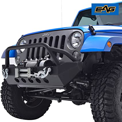 EAG 07 18 Jeep Wrangler JK Front Bumper With Winch Plate