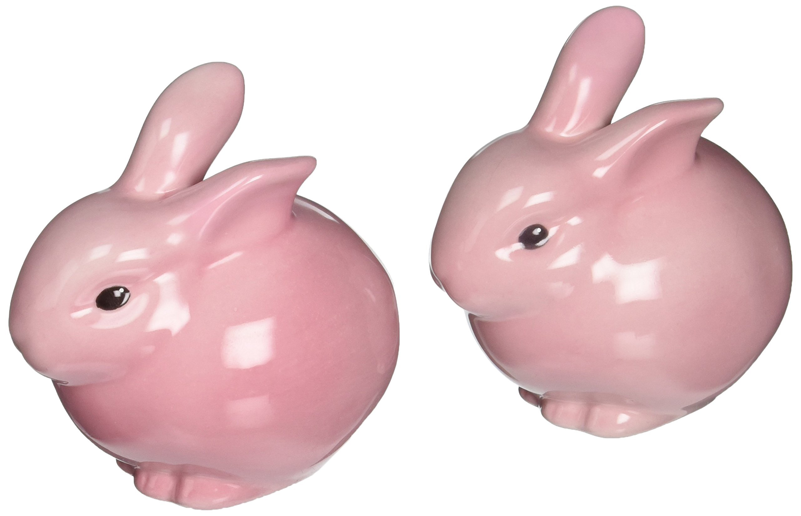 Cosmos 61107 Gifts Ceramic Pink Bunny Salt and Pepper Set, 3-3/4 Inches High