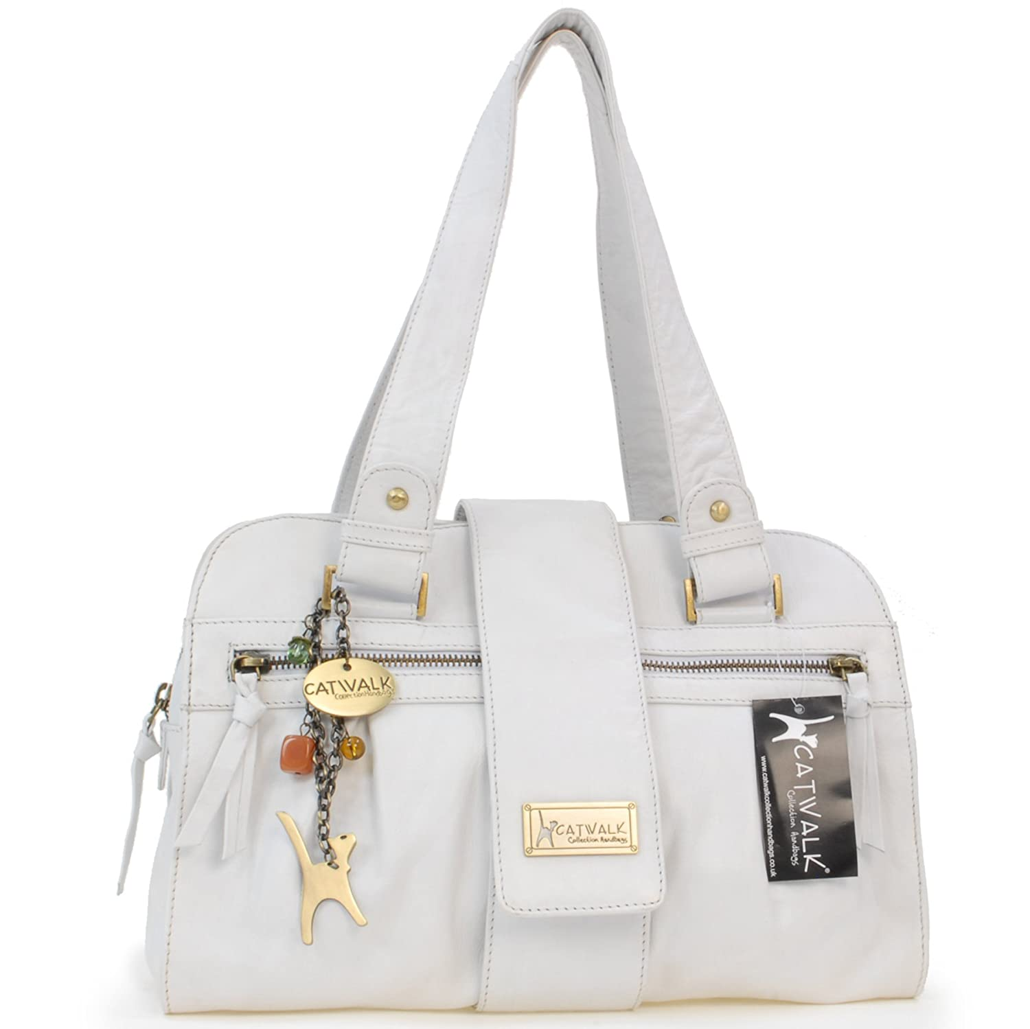 Catwalk Collection Handbags Womens Leather Top Handle Shoulder Zara Double Strap Bag White Shoes Bags