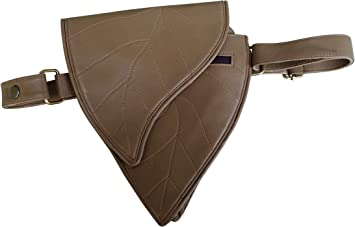 Leaf 3 Pocket fits iPhone and passport travel Leather Utility Belt Brown festival cosplay hip bag