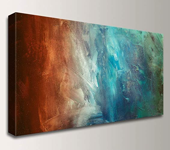 Amazoncom Reflection Teal Rust Abstract Painting Canvas