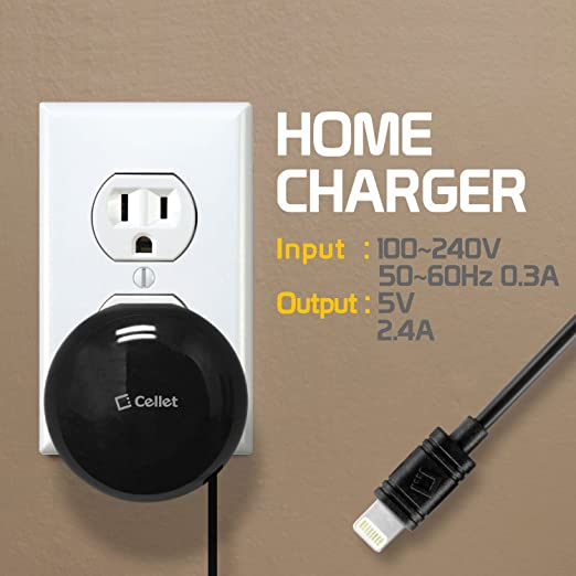 Compatible for iPhone 11 Pro Max XS Max Xr X 8 7 6 iPad Air Pro Mini 4 3 2 iPod Touch /& All Lightning Devices 10 Watt Cellet Retractable Home//Wall Fast Charger 2.4 amp 2.5 ft Cord -MFI Certified