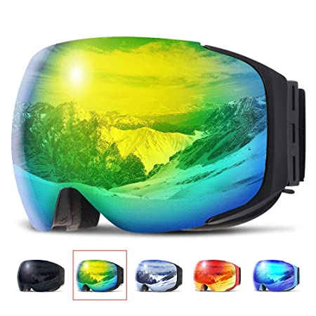 COPOZZ Ski Goggles, G2 Magnetic Snowboard Snow Goggles -2 Seconds Quick Change Lens, Imported Double-Layer Anti Fog Lens -UV400 Over Glasses OTG Snowmobile Goggles