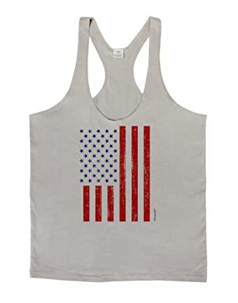 2f4ce642968fb6 Amazon.com  LOBBO TooLoud Red and Blue Stamp Style American Flag - Distressed  Mens String Tank Top  Clothing