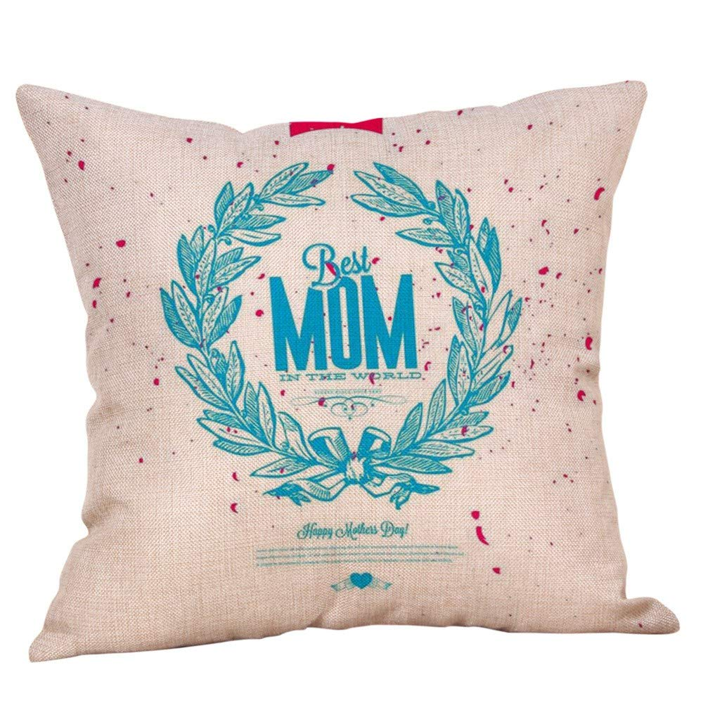 Mother's Pillow case,EOWEO Happy Mothers' Day Pillow Cases Sofa Cushion Cover Home Decor Pillow Case(45cm×45cm,Multicolor-O)