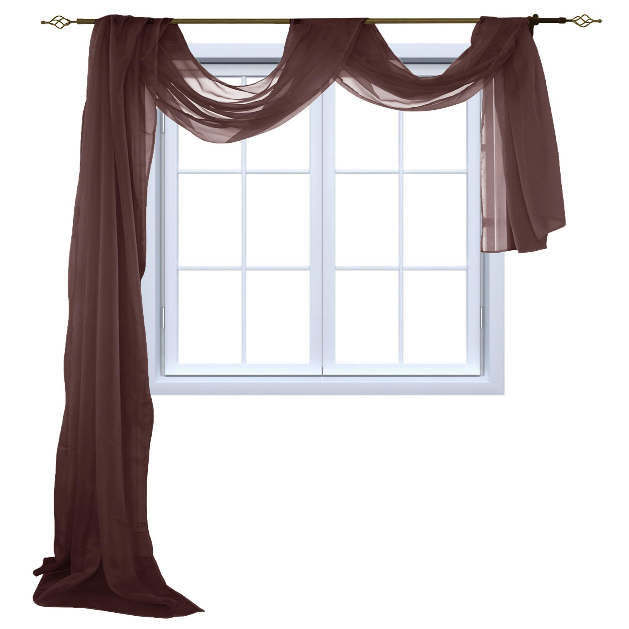 HOLKING Sheer Window Scarf Sheer Voile Curtain for Window Treatment-Add to Window Curtains for Enhanced Effect by, Brown,52 inch Width by 216 inch Length