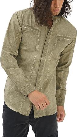 trueprodigy Casual Hombre Marca Camisa Basico Ropa Retro Vintage Rock Vestir Moda Cuello Alto Manga Larga Slim Fit Designer Fashion Shirt, Colores:Khaki, Tamaño:S: Amazon.es: Ropa y accesorios
