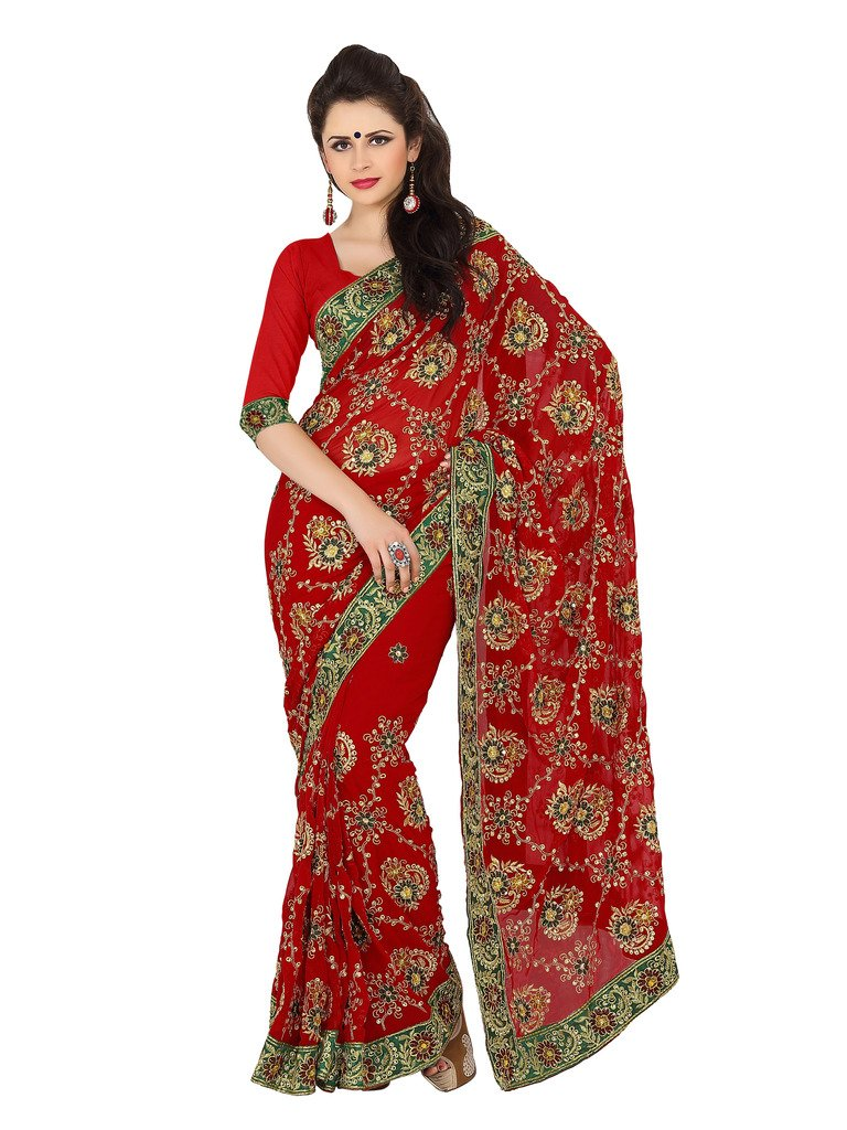 Mirchi Fashion Women's Faux Georgette Zari Wedding Reception Saree Free Size Red