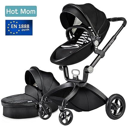 Hot Mom Limited Edition Kombikinderwagen mit Buggyaufsatz und Babywanne 2017, Schwarz …