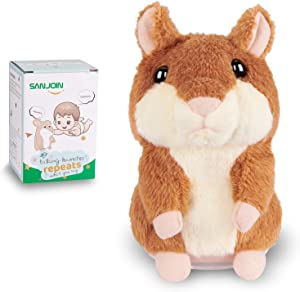 Kids Toys Talking Hamster Repeats What You Say, Talking Plush Interactive Toys Repeating Plush Animal Toy, Fun for 2,3 Year Old Kids, Baby, Child, Toddlers