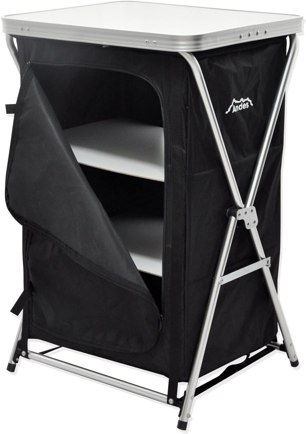 Andes Foldable 3 Shelf Camping Cabinet