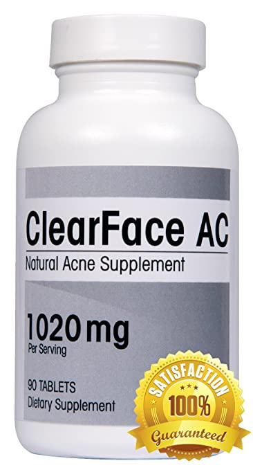 ClearFace AC Natural Acne Supplement - Reduce Pimples, Inflammation, and Oily Skin with the Best Over the Counter Acne Treatment Vitamin Pills (90 tablets). Dermatologist Recommended.