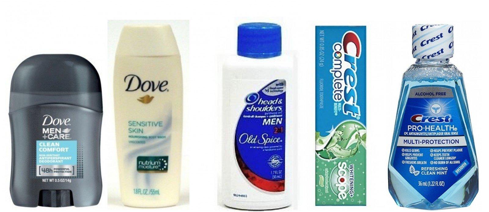 Dove Men Deodorant + Dove Sensitive Body Wash + Head Shoulders Old Spice Shampoo + Crest Toothpaste + Crest Mouthwash Travel Size