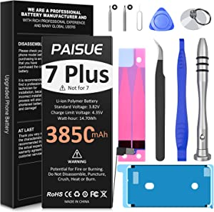 Battery for iPhone 7 Plus, Upgraded 3850mAh High Capacity Replacement Battery, New 0 Cycle Li-ion Battery for 7 Plus A1661 A1784 A1785 with Complete Repair Tool Kit and Instruction
