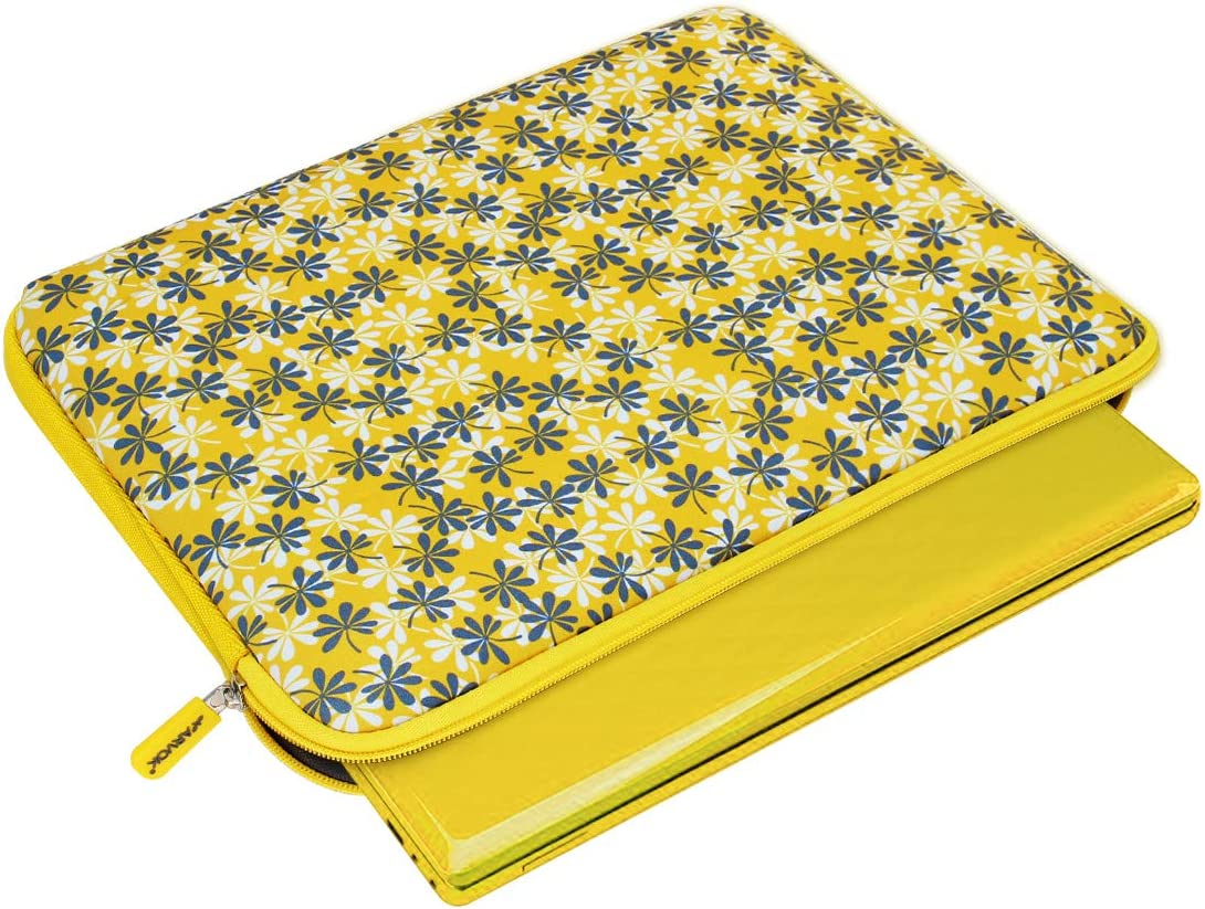 Arvok 13-14 Inch Laptop Sleeve Multi-Color /& Size Choices Case//Water-Resistant Neoprene Notebook Computer Pocket Tablet Carrying Bag Cover Yellow with Flower