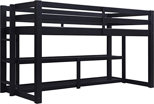 Amazon Com Loft Bed With Storage Shelves Ladder Twin Size Bed