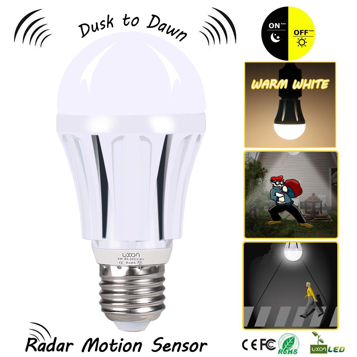 dusk to dawn led motion sensor light bulb 100 watt equivalent 9w