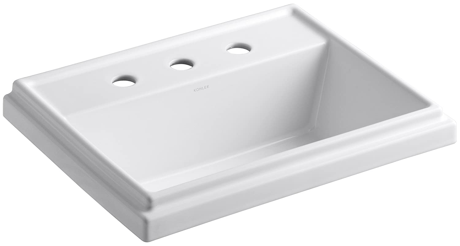 KOHLER K 2991 8 0 Tresham Rectangle Self Rimming Bathroom Sink With 8 Inch  Widespread Faucet Drilling, White   Bathroom Sinks   Amazon.com