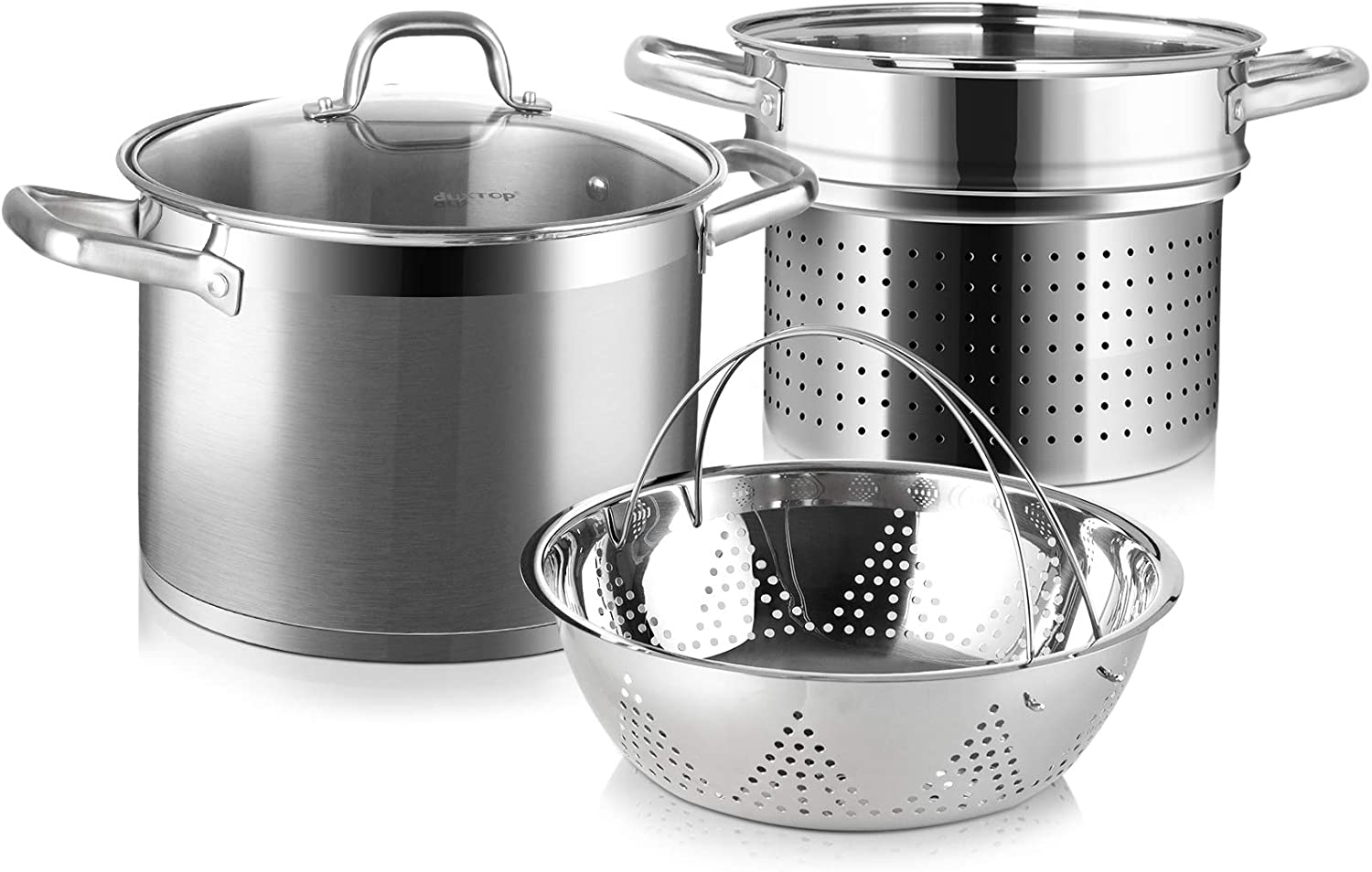 Duxtop Professional Stainless Steel Pasta Pot with Strainer Insert, 4PC Multipots Includes Pasta Pot & Steamer Pot, 8.6Qt Induction Stock Pot with Glass Lid, Impact-Bonded Technology