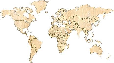 Giallobus - Mapa del Mundo - DECORACIÓN DE Paredes EN Madera EN Madera DE Fresno - 190X105 CM: Amazon.es: Hogar