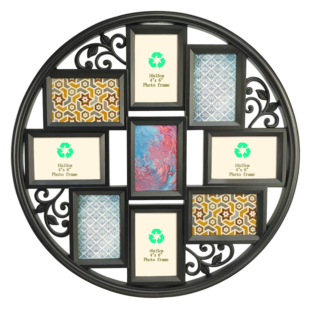 Giftgarden 9 Opening Collage Photo Picture Frames 4x6 Multi Wall Hanging Frame for Nine 4 by 6 Inch Photograph, Black