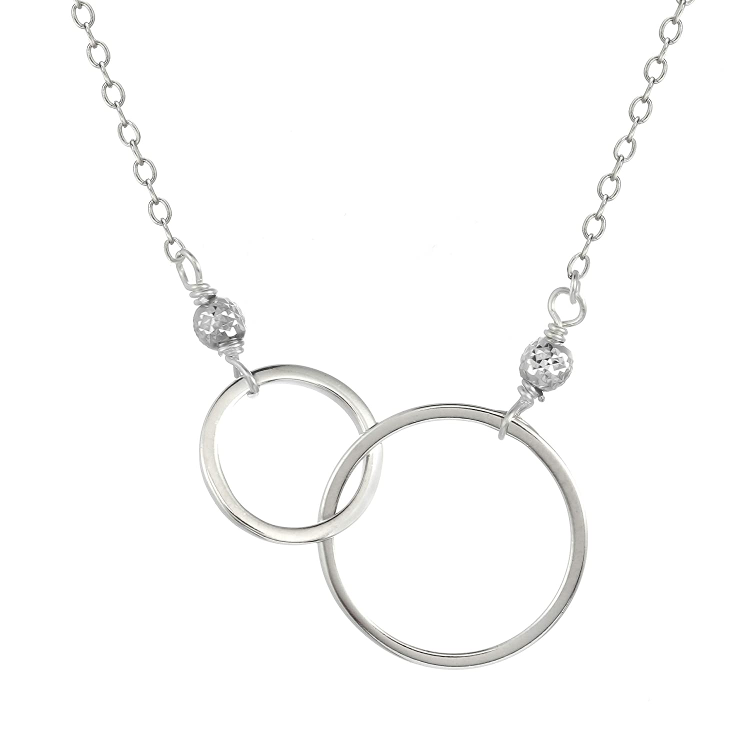 Sterling Silver with Two Circles Pendant Chain Necklace with silver bead accents 16 1 Extender