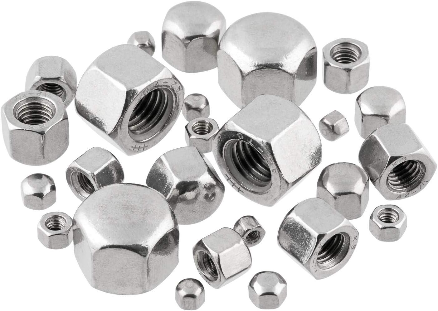 Hutmuttern Sechskant M3 niedrige Form DIN 917 Edelstahlmuttern A2 V2A Sechskantmuttern Kappenmuttern M3 10 St/ück