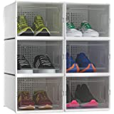 YITAHOME Shoe Box Medium Size, Set of 6 Shoe Storage Organizers Stackable Clear Shoe Storage Box Rack Clear Drawer-White