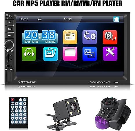 4 LED Mini R/ückfahrkamera mit Lenkradfernbedienung 17,8 cm Doppel Din Auto Radio Audio Bluetooth Touch MP5 Player USB FM Android Telefon Spiegel Link Entertainment Multimedia Stereo