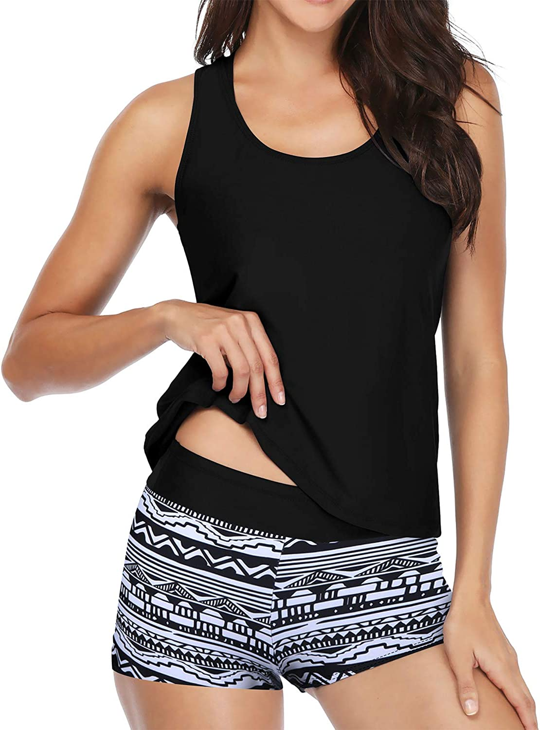 Yonique Athletic 3 Piece Tankini Swimsuit for Women Modest Swimwear with Boyshort Tank Top with Bra and Shorts