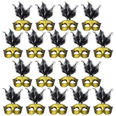 Jerbro Masquerade Mask Decoration, 18PCS Pearl Feather Small Masks Venetian Mask Mardi Gras Novelty Gift (Black): Clothing