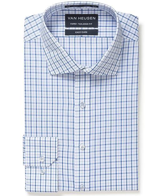 8ee8a554787 Van Heusen Men s Men s Euro Tailored Fit Shirt Blue Multi Check ...
