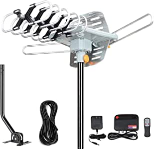 2020 Version Outdoor Amplified Digital HDTV Antenna - 150 Mile Motorized 360 Degree Rotation- TA Amplified HD TV Antenna for 2 TVs Support UHF/VHF 4K 1080P Channels Wireless
