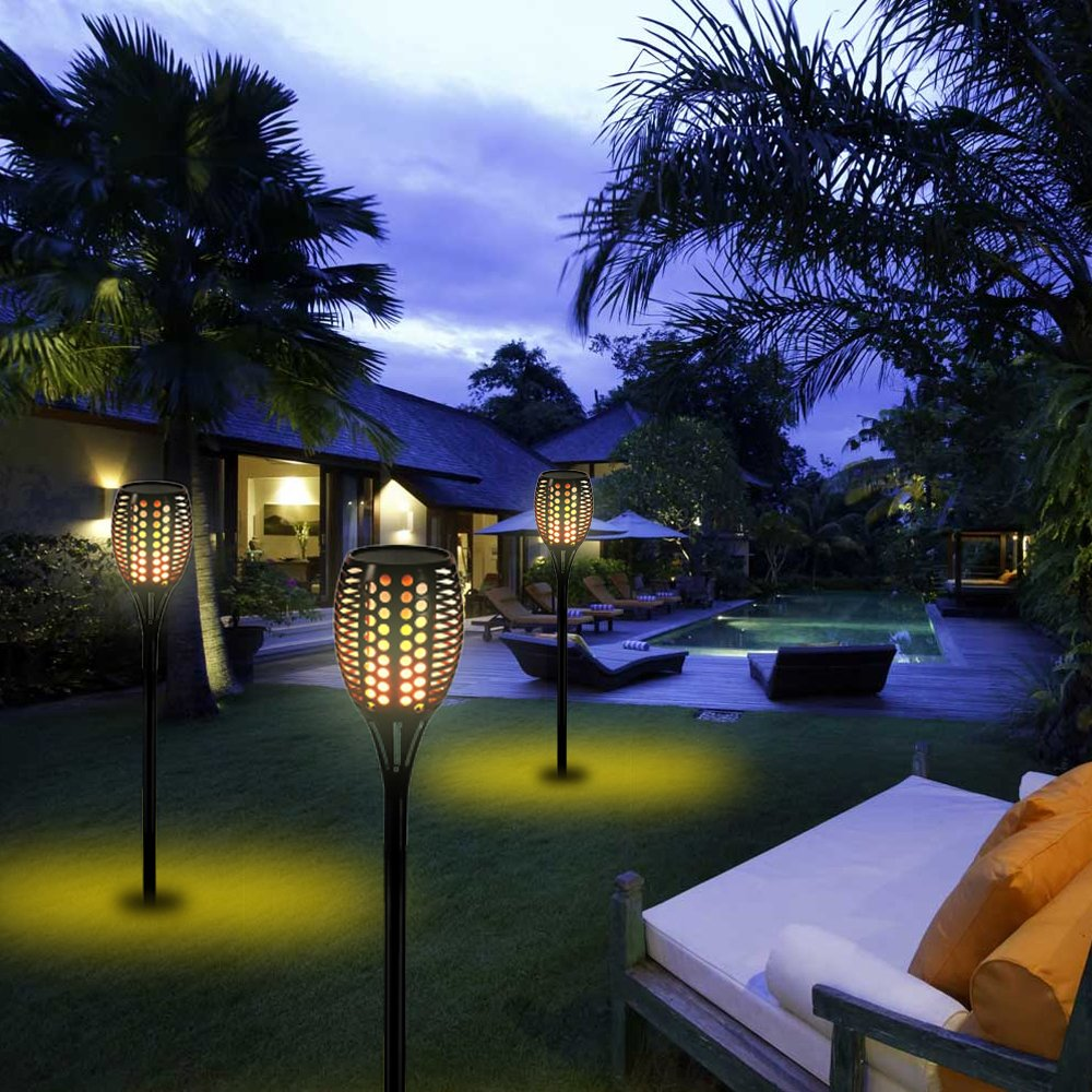 Solar Tiki Light By Kshioe,96LED Waterproof Flickering Flames Torches Lights Outdoor Landscape Decoration Lighting Dusk to Dawn Auto On/Off Security Path Light for Garden Patio Deck Yard Driveway (8) by Kshioe (Image #9)