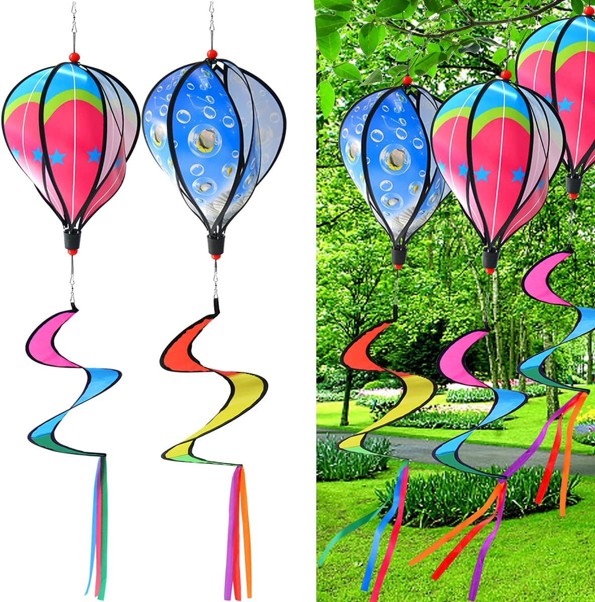 PSMILE Blue Fish Bubble/Colorful Stars Kinetic Hot Air Balloon Wind Spinner Hanging Rainbow Wind Twister,2pcs