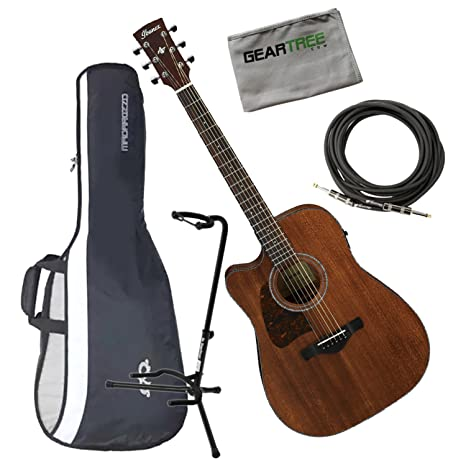 Ibanez aw54lceopn Artwood Dreadnought acústica guitarra eléctrica zurdos Natural poro abierto w/cable, geartree