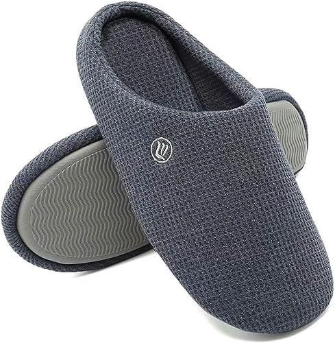 antiscivolo punta chiusa Pantofole da uomo in memory foam per casa comode a maglia per interni ed esterni misto cotone