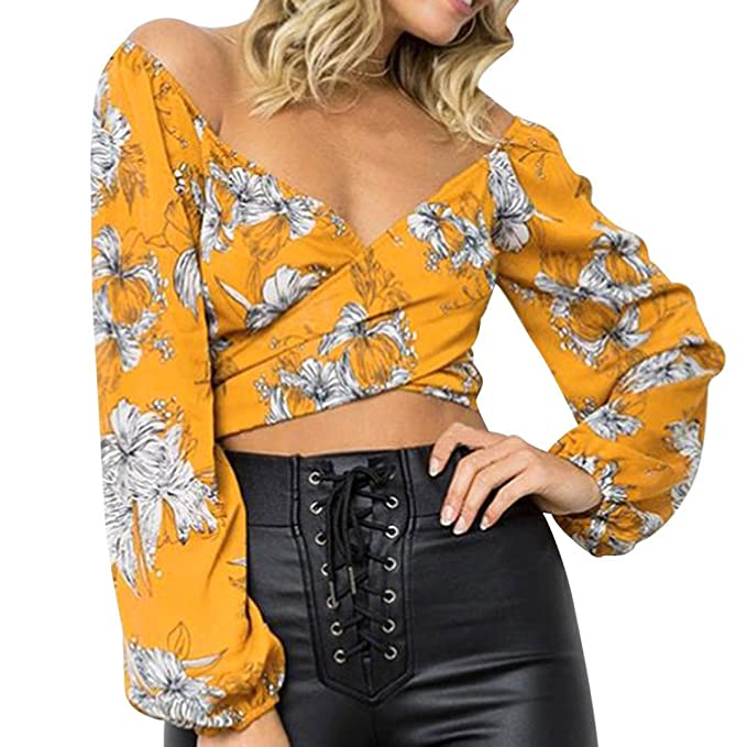 Blusa para Mujer, Toamen Camisa con Cuello En V, Blusas ChifóN (S,