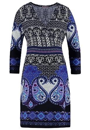 2e02655a7f50 Anna Field Strickkleid mit Paisley Muster schwarz mit Blau oder Braun –  Minikleid mit Cache Coeur Ausschnitt – Kleid Damen kurz – Damenkleid  elegant mit 3 4 ...