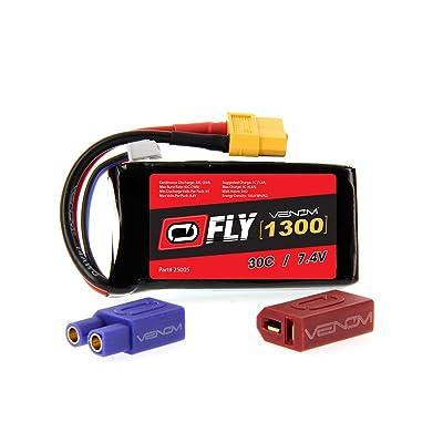 Venom Fly 30C 2S 1300mAh 7.4V LiPo Battery with UNI 2.0 Plug (XT60/Deans/EC3) - Compare to E-flite EFLB12502S: Toys & Games
