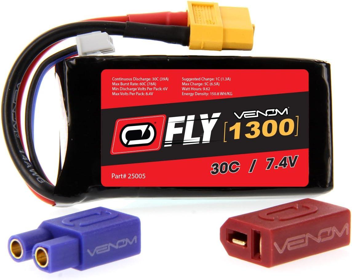 Venom Fly 30C 2S 1300mAh 7.4V LiPo Battery with UNI 2.0 Plug (XT60/Deans/EC3) - Compare to E-flite EFLB12502S