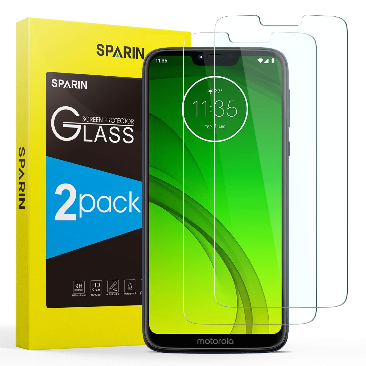 SPARIN [2 Pack Compatible with Moto G7 Power Screen Protector, [NOT Edge to edge] [Case friendly] Tempered Glass Screen…