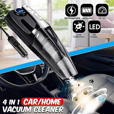 Aspirador de Mano para Coche con Bomba de inflado de neumáticos Digital Indicador de presión Aspirador de luz LED para Auto casero: Amazon.es: Hogar