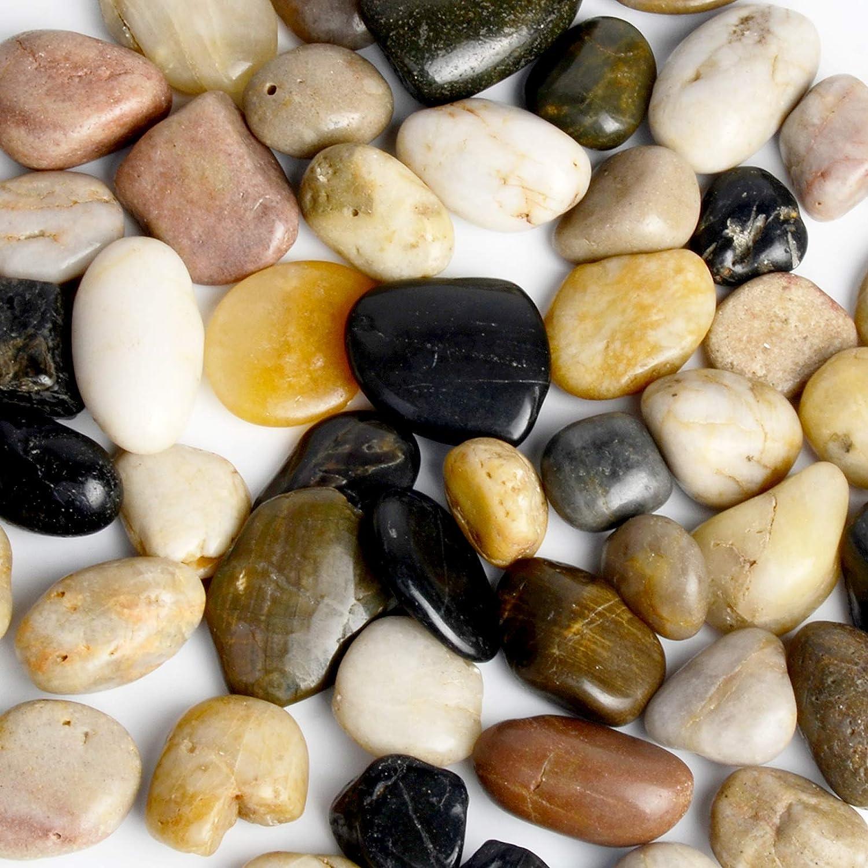 Simetufy 5.5 lb Pebbles Decorative River Rocks Stones, Rocks for Succulent Plants or Bonsai Garden, Natural Mixed Color Pebbles
