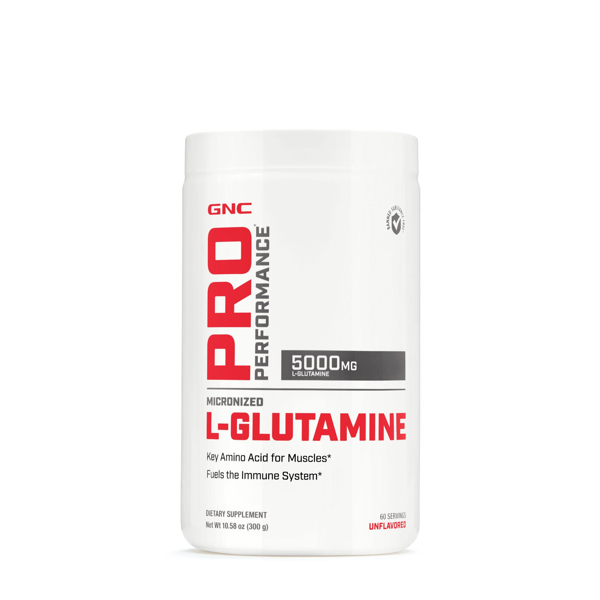 GNC Pro Performance Micronized L-Glutamine, Unflavored, 60 Servings, Supports The Immune System