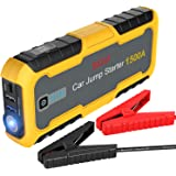 BASAF Car Jump Starter 1500A Peak, Portable Lithium Battery Booster Power Pack, Quick Charge 3.0 Ports, Type-C Fast Charging, Power Bank, LED Flash Light